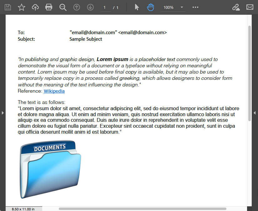 Converted MSG to PDF file programmatically