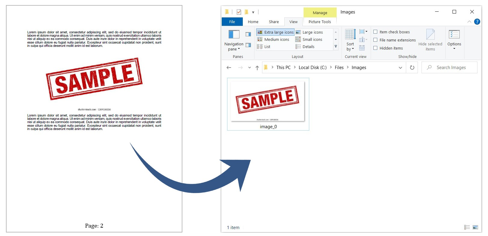 Extract images by page number range from PDF document.