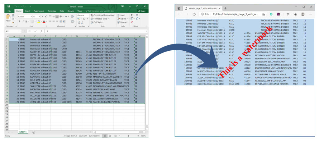 Render Excel to HTML with Watermark