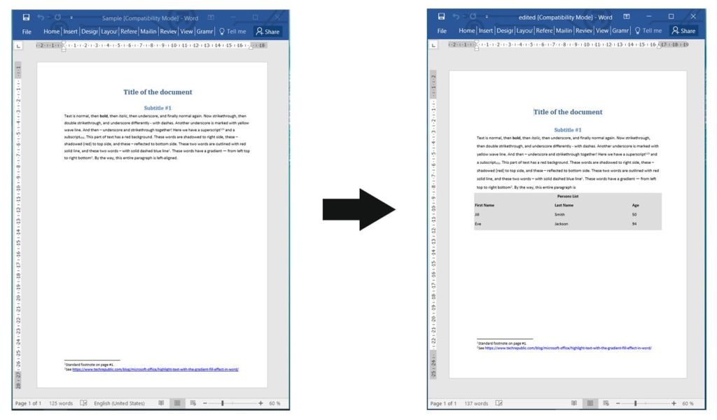 Add Table in Word Documents using Node.js