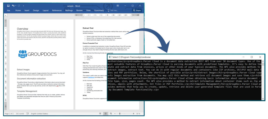 Extract Text from Word Documents using Node.js