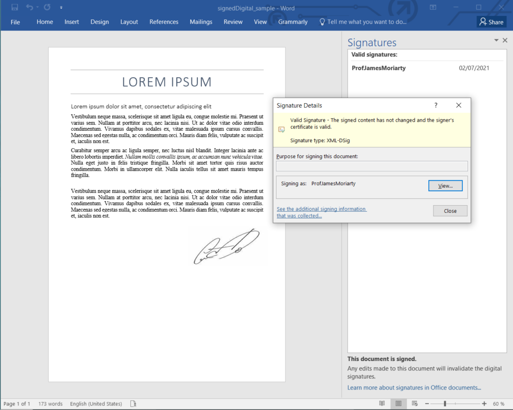 Sign Word Documents with Digital Signatures using Node.js