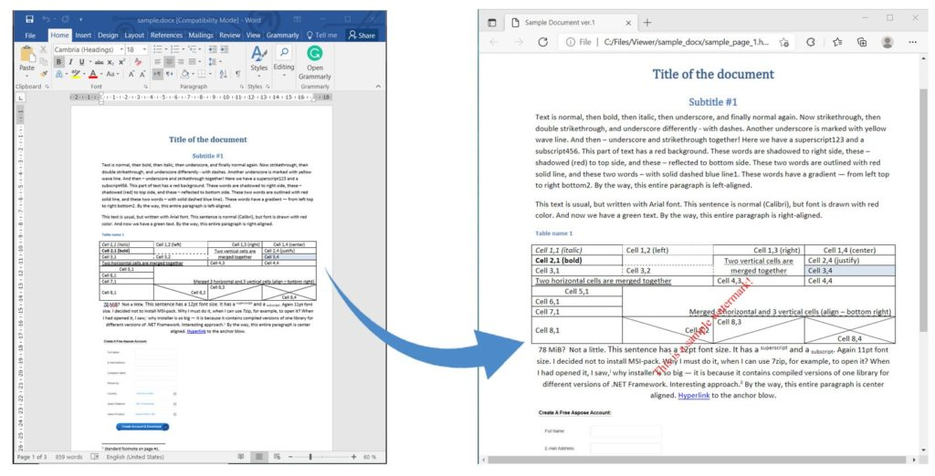 Word to HTML Rendering with Watermark using C#.
